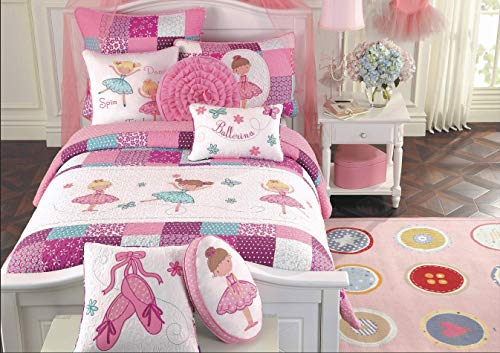 Cozy Line Home Fashions Ballerina Dance Princess Bedding Quilt Set, Embroidered Pattern Patchwork 100% Cotton Bedspread Coverlet Set (Pink Embroidered, Twin - 2 Piece)