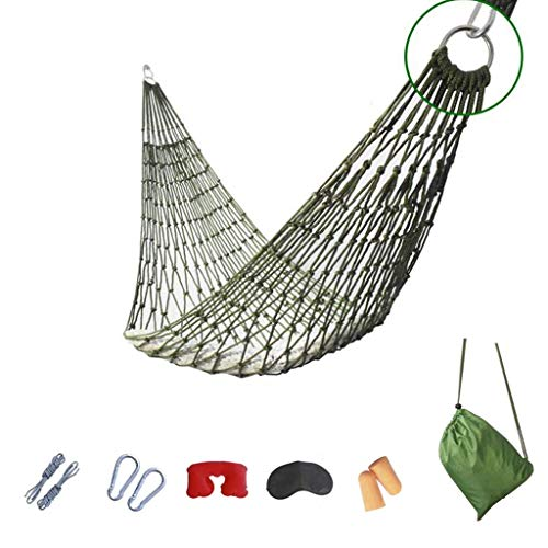 Hamacs, Meubles de Camping réticulés extérieurs adaptés à de Multiples scénarios Charge en Nylon de Tissu de Parachute 100 kg (Couleur: Vert, Taille: 250 * 120 cm) Confortable