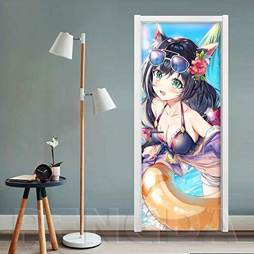 JuMei Door sticker Hd Tür Aufkleber Vinyl Cartoon Anime Sexy Mädchen Strand Schwimmring 77X200 Cm 3D Tür Aufkleber Pvc Wasserdicht Self-Adhesive Wallpaper Wand Aufkleber Wohnzimmer Tür Dekor Abziehbil