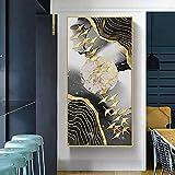 Moderno nórdico abstracto dorado pájaros voladores líneas Luna lienzo pintura póster impresiones cuadros de pared para decoración de sala de estar Cuadros 60x120 CM (sin marco)
