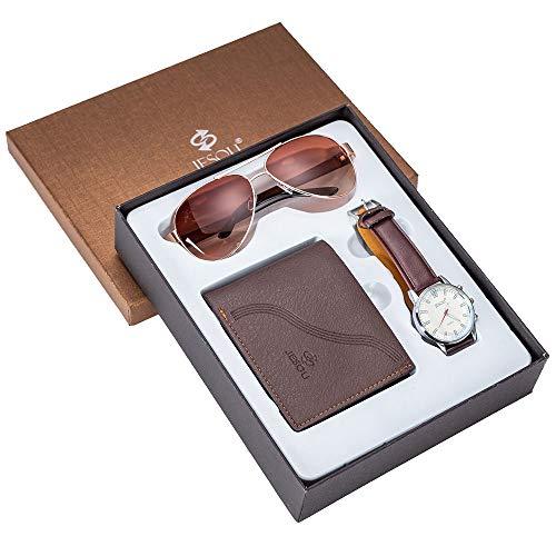 ZOZIZZ Gafas de Regalo de Hombre Reloj + Wallet Gafas de Sol Conjunto Conjunto de Reloj de Regalo de combinación Creativa Fresca Conjunto con una Caja de Embalaje bellamente,Marrón