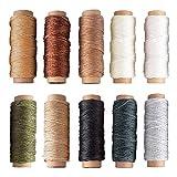JOYISEN 10 Piezas Hilo Encerado 150D Hilo De coser de Cuero Multicolor para Coser a Mano Pulseras de Encuadernación de Cuero Hilo de Cordón