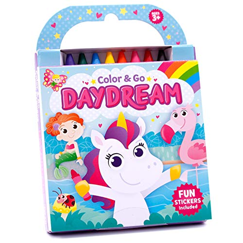 Color & Go: Daydream-Unicorns, Llamas, Princesses and More!-This Delightful Collection of 80 Coloring Pages includes 8 Jumbo Crayons and Easy-Peel Stickers (Color & Go)