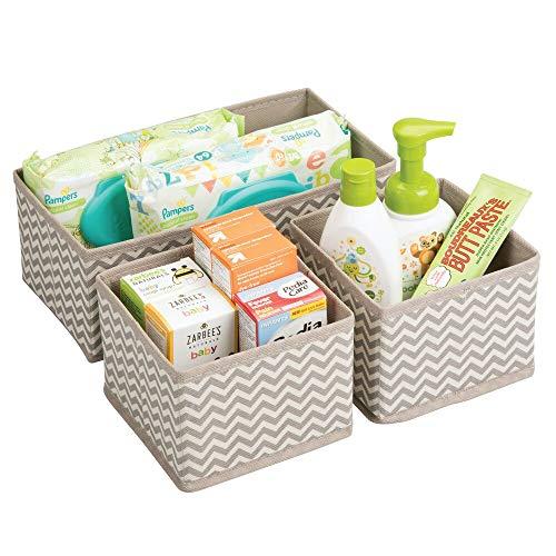 mDesign Cajas almacenaje juego de 3 – Cajas almacenaje ropa, toallas, sábanas – Ideales cajas organizadoras para un orden óptimo – Color: topo/natural