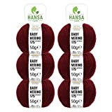 HANSA-FARM 100% Lana de Merino extrafina Superwash en más de 35 Colores (no Pica) - Set de 300g (6X 50g) - Lana Baby Merino para Punto y Ganchillo en 4 grosores Rojo Vino (Heather)