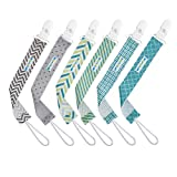 Pacifier Clip by Enovoe - 6 Pack of Pacifier Clips - Stylish Teething Ring Pacifier Holder for Baby Boys and Girls