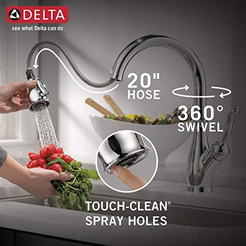 Delta Faucet Leland Single-Handle Kitchen Sink Faucet with Pull Down Sprayer, ShieldSpray Technology and Magnetic Docking Spray Head, Chrome 9178-DST