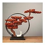 planta de escritorio Faux Bonsai Tres Plaza de la planta con ciervos de cerámica escultura en casa Oficina Decoración Ornamentos Artificiales Verdes Plantas Zen Decoración Regalos Árboles artificiales