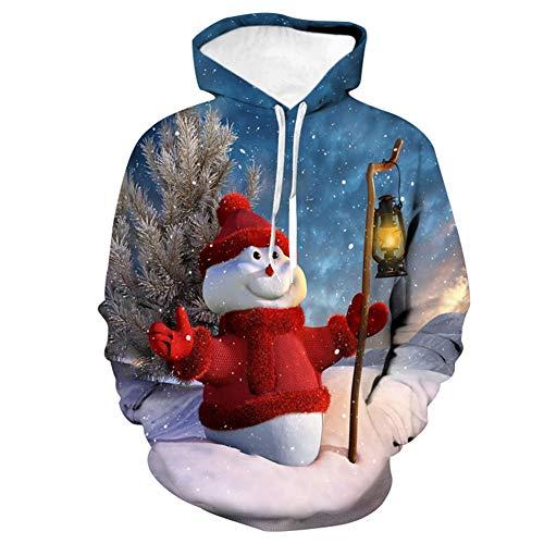 ONE-zl Sweat À Capuche 3D Fantaisie Homme Femme Christmas Creative Sweat-Shirt À Capuche Imprimé Drawstring avec Poches,XXL