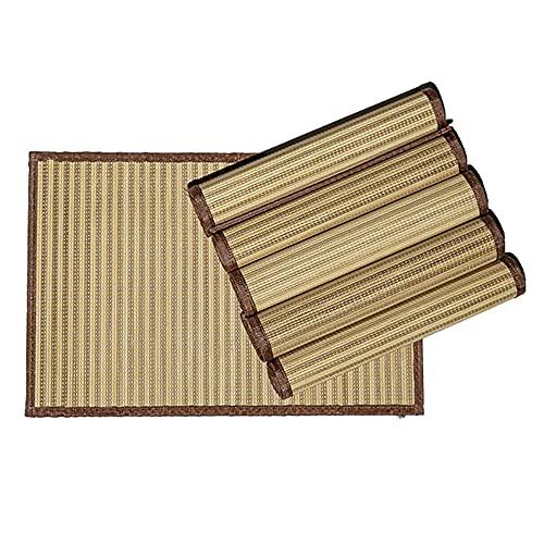 Byoeko Juego de 6 Salvamanteles Individuales rectangulares de Bambú con Borde de Tela de (45 x 30 cm) (Marron Claro)