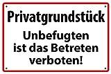 Privatgrundstück Betreten verboten Alu-Schild inkl. 4 Lochbohrungen (4 mm) 30 x 20 cm'Privatgrundstück - Unbefugten ist das Betreten verboten' Alu-Hinweisschild 3mm Verbundplatte
