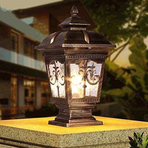 Naiyn Lámpara de pilar tradicional Victoria al aire libre Retro Bolardo Luz de pilar Patio Jardín Puerta exterior Poste de césped Entrada de luz Lámpa