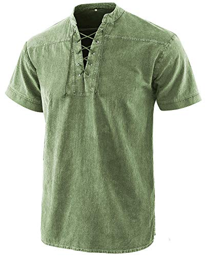 Moomphya Men's Medieval Retro Lace-up V-Neck Cotton Linen Gothic Short Sleeve T-Shirts (A3 Green, Large)