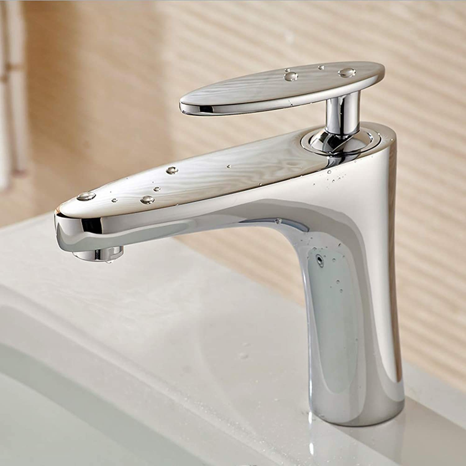 IFELGUD new White Painting Short New Brand Bathroom Hot And Cold Mixer Tap Solid Single Hand Brass Basin Faucet Chrome Faucet