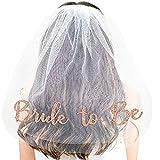 MIKI-Z Bachelorette Party Gold Bride to Be Veil Bridal Shower Supplies Décor de fiançailles
