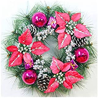 Christmas Party Flower Christmas Garland Door Hanging Ornaments Room Christmas Tree Pendants for Decoration(Rose Red)