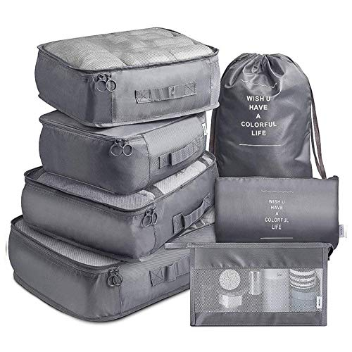 YLDZSUP 7Pcs Travel Storage Bags Clothes Organizer with Shoes Bag Travel Multi-functional Travel Luggage Waterproof Packing Cube Luggage
