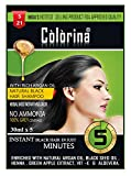 Colorina Hair Color Shampoo, Natural Black (30 ml X 10 Sachet) | Ammonia Free | Colors Hair not Skin | Instant Black Hair in Just 5 Minutes