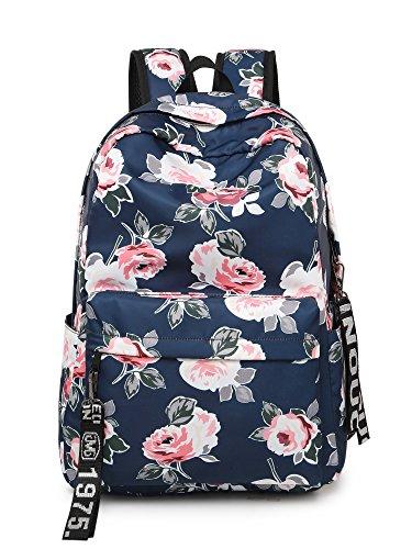 Leaper Fashion Floral Laptop Backpack Women Daypack Travel Bag Satchel Handbag (Floral Dark Blue-P)