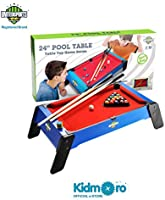Kidmoro United Sport Wooden Pool or Billiards Table Game, 24-inches