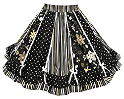 Image: Black Stripe and Print Square Dance Skirt