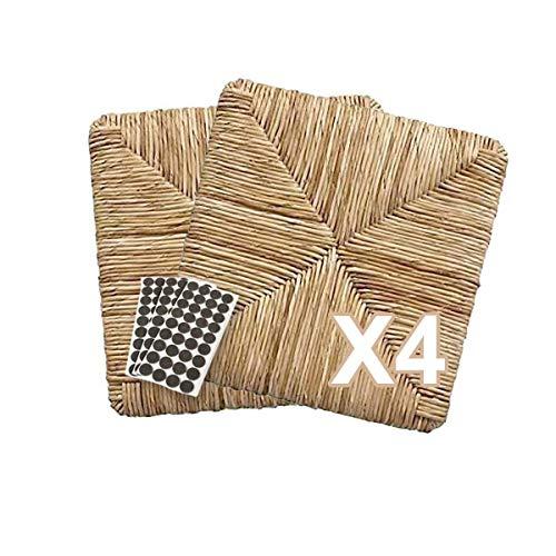 ZStyle Set SEDUTE Paglia MOD 901 37x37 cm Seduta Sedile Ricambio Telaio Fondo per Sedie Impagliate Sedia Pisa+ FELTRINI Omaggio (4 Pezzi)