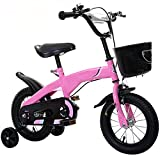 DFLKP Niños Niñas Niños Bicicleta 3-11 años 12 14 16 18 Pulgadas Ruedas de Entrenamiento Pata de Cabra Bicicleta para niños,Rosado,14 Inch