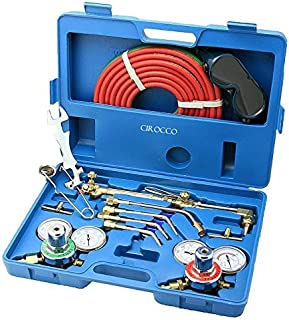 Cirocco Gas Welding and Cutting Torch Kit   Professional Oxygen Acetylene Regulator Torch Welding Soldering Brazing Hand Facing Tool Set Portable with Case for Amateur Metal worker Seasoned Welder