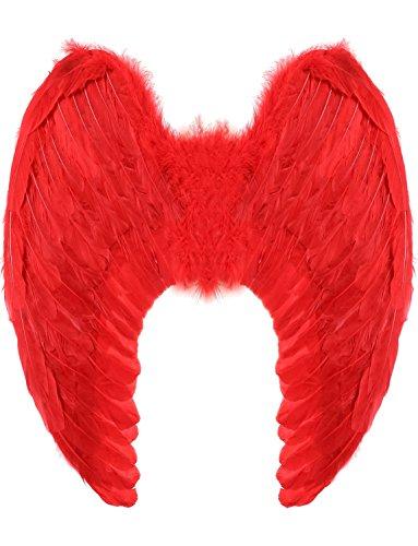 Yummy Bee - Echte Federn Engel Fee Flügel Groß Damen Karneval Fasching Kostüm Erwachsene Größe 60cm x 40cm (Rot)
