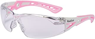 Bolle Safety Rush+ Safety Glasses, Pink & White Frame, Clear Lenses