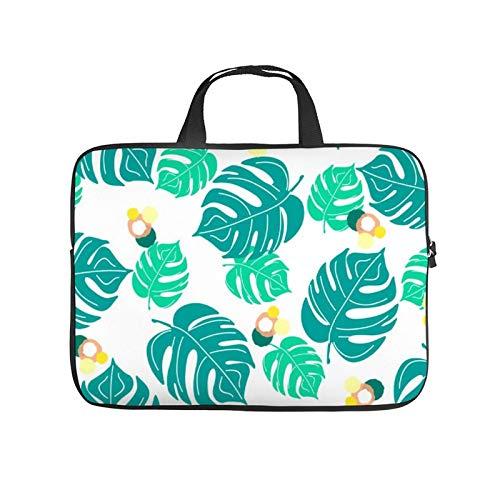 15inch Laptop Shoulder Messenger Bag, Laptop Case, Turquoise Green Pattern Teal Aqua Leaf Design Plant, Laptop Shoulder Bag, Messenger Bag Case, Business/Office/Work Bag