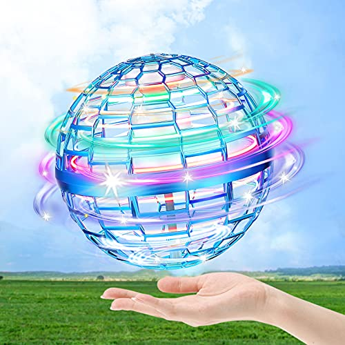 hctaw Flynova Pro Flying Orb, Mini Drone Volar Ball Spinner 360 ° UFO Giratorio, RGB LED y Pelota de Vuelo Recto para Niños Adultos al Aire Libre Interior (Azul)