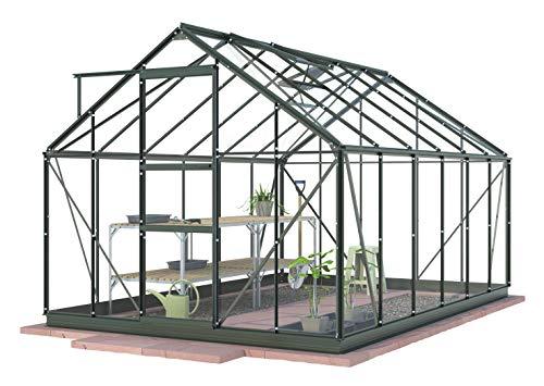 Invernadero de aluminio dekowunder 8ft3 simplicidad sol (2530 mm) x Ancho 12ft4 (3770 mm) con mucho vidrio hortícola