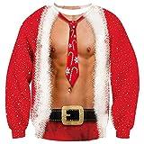 Goodstoworld Christmas Sweater Hombre Mujer Red 3D Navidad Ropa Divertida Vintage Elfo Impreso Jerseys Traje de Navideño M