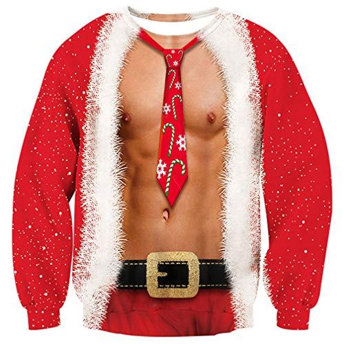 Goodstoworld Pullover Weihnachten 3D Druck Herren Rot Weihnachtspullover Sweatshirt Unisex Ugly Christmas Sweater XXXL