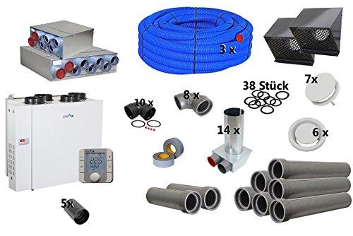 Selfio-Set zentrale Lüftungsanlage bis 150 m² mit Gerät, links, Bediengerät digital DN 75