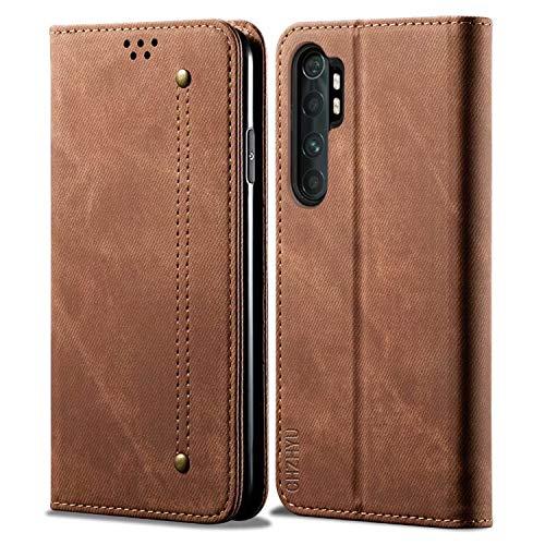 CHZHYU Handyhülle für Xiaomi Mi Note 10 Lite,Premium Leder Flip Doppelte Schutzhülle Hülle Cover[Kartenfächer][Magnetverschluss][Standfunktion] für Xiaomi Mi Note 10 Lite (Braun)