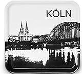 IKEA Fruktkultur Tablett Köln Motiv 33x33 cm schwarz/weiß Stadtsilhouette mit Kölner Dom