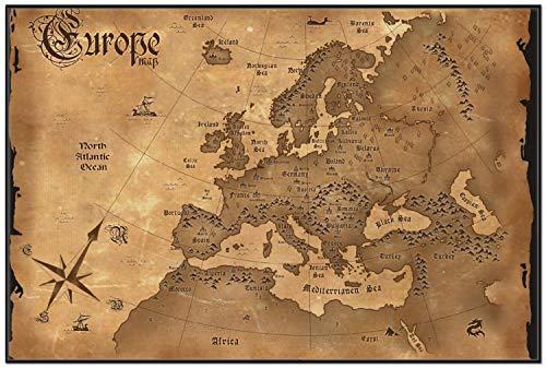 Wallario Wandbild Alte Weltkarte Karte von Europa in englisch in Premiumqualität mit schwarzem Rahmen, Größe: 61 x 91,5 cm