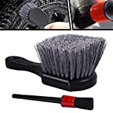 wheel brush cleaner - Wheel & Tire Brush with Short Handle, Soft Bristle Car Tire Wheel Brush Cleaner, Rim Detailing Brush Multipurpose use for Tire, Motorcycle, Metal Surface(Free Detail Brush)