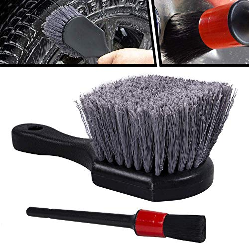 bzczh Wheel & Tire Brush, Soft Bristle Car Wash Brush, Plus Detailing Brush, Cleans Dirty Tires & Releases Dirt and Road Grime, Car Rim Cleaning Brush Short Handle