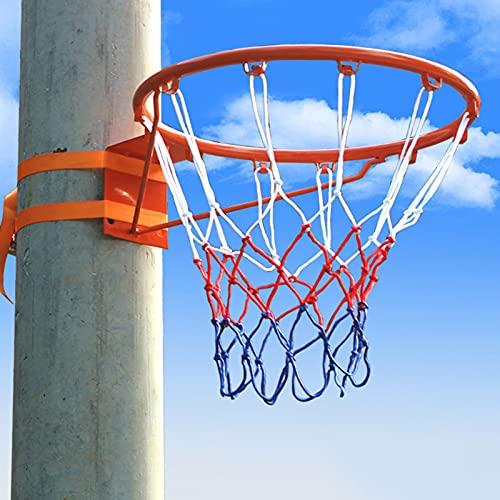 YXX-Canasta de baloncesto Borde Y Red De Baloncesto Para Niños Y Adultos, Porterías Y Aro De Baloncesto Para Interior Y Exterior Con 2 Correas Para Árbol, Patio Trasero, Valla, Gimnasio, Garaje, Pisci