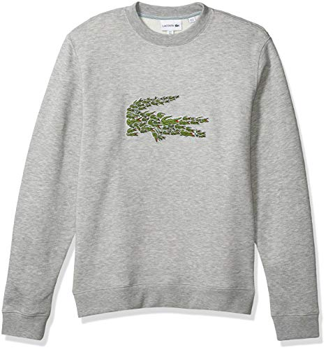Lacoste Mens Long Sleeve Brushed Molleton Winter Sweater Sweatshirt, Silver Heathered, L