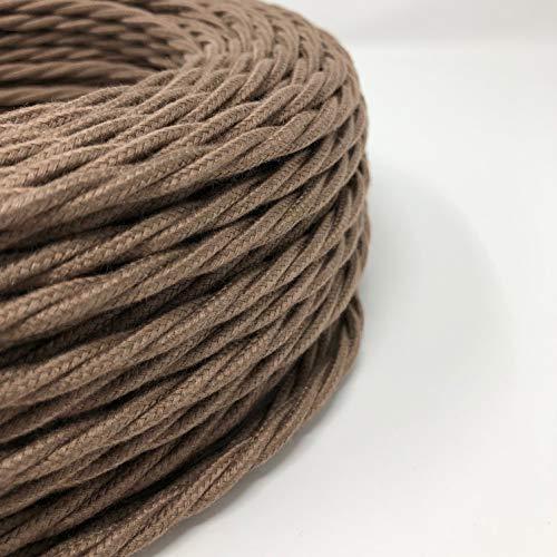 Cavo Elettrico Treccia/Trecciato Rivestito in Tessuto. Colore Marrone Orzo Cotone. Sezione 3x0.75 (5 Metri)