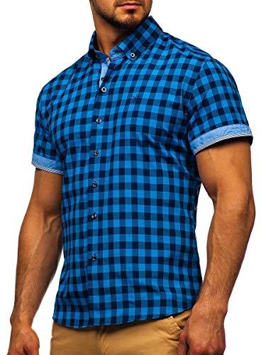 BOLF Herren Hemd Kurzarm Trachtenhemd Karohemd Freizeithemd Slim Fit Kariert Baumwollmischung Sommer Casual Style 4508 Blau L [2B2]