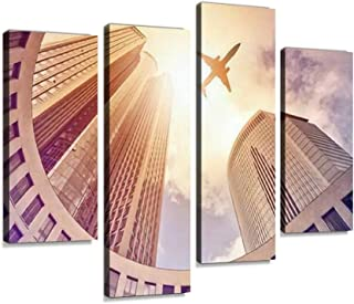 Canvas Print Artwork plane flying over modern office tower in the sun Frankfurt am Main Wall Art Pictures Framed Digital P...