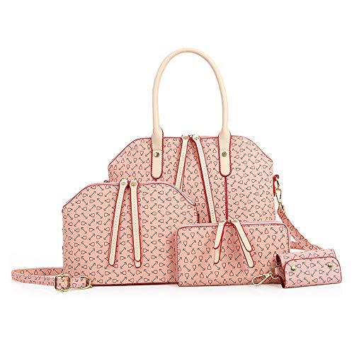 NIYUTA Shoppers y bolsos de hombro mujer Bolsos de mano moda Bolsos bandolera Bolsos totes 3 piezas es201 Rosa