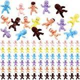 90 Pieces Mini Plastic Babies Baby Shower Games Party Ice Cube Party Decorations,1 inch Plastic Babies Doll for Baby Bathing and Crafting (Latin, Dark Brown, Pink, Yellow, Purple, Blue)