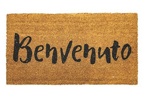 Zerbino Ingresso casa 70 x 40, Tappeto Ingresso casa con Scritte Simpatiche, per Ingresso in Fibra di Cocco spessorata di Alta qualità 1,5 cm e Base Antiscivolo PVC (Benvenuto)
