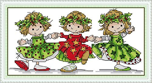 YEESAM ART Cross Stitch Kits Stamped for Adults Beginner Kids, Cute Dancing Girls 11CT 34×18cm DIY Embroidery Needlework Kit with Easy Funny Preprinted Patterns Needlepoint Christmas (Girls)